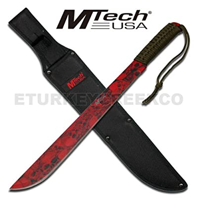 "MT-20-01RD M-Tech Red Skull h6u718l4o Coated Full Tang Machete ""18"""""" Overall fixed knife blade steel hunt hunting camp camping 2p269w6fy edge"