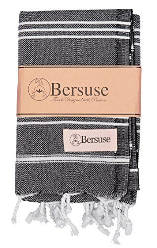 Bersuse 100% Cotton - Anatolia Hand Turkish Towel Pestemal - Baby Care Kitchen Tea Dish Washcloth - Travel Gym Head Hair Face Peshtemal - Classic Striped - 22X35 Inches, Black - Absorbent & Ultra Soft: Our peshtemal hand towels dry you off quickly. Great for baby care, kids, men and women with sensitive skin. Works great as a hair towel or face towel. You can easily wrap around your head Lightweight & Compact: Just pack & fit in your bag easily. Takes up much less storage space than a traditional terry towel Machine Washable & Quick Drying: Gets softer and more absorbent with every wash. Dries faster than fluffy towels. They do not get smelly - bathroom-linens, bathroom, bath-towels - 51k2lBNfIRL -