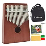 Kalimba 17 keys Mahogany Wood Thumb Piano Portable Mbira African Likembe Sanza with Accessary (Tune Hammer, Bag, Study Guide), Good Gift for Kids and Trip