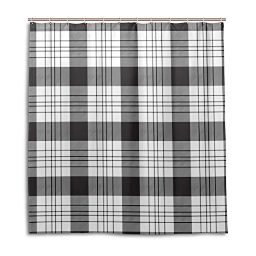 (Amanda Billy Square Black and White Natural Home Shower Curtain, Beaded Ring, Shower Curtain 72 x 72 Inches, Modern Decorative Waterproof Bathroom Curtains )
