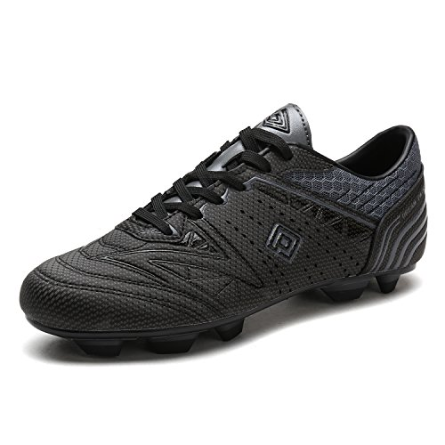 DREAM PAIRS 160859 Men's Sport Flexible Athletic Lace Up Light Weight Outdoor Cleats Football Soccer Shoes Black DK.Grey Size 8 ()