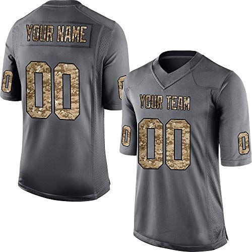 Custom Men's Camo Anthracite Salute to Service Football Jersey Stitched Team Name and Your Numbers,Light Camo Anthracite Size 2XL