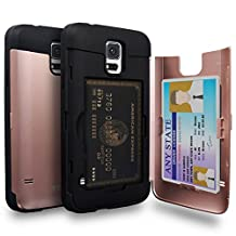 Galaxy S5 Case, TORU [S5 Wallet Case Rose Gold] Protective Slim Fit Dual Layer Hidden Credit Card Holder ID Slot Card Case with Mirror for Samsung Galaxy S5 / S5 Neo - Rose Gold