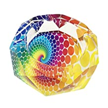 """Beautiful Transparent Octangle Shape Diameter 3.9"""" Cigar Cigarette Crystal Glass Ashtrays With 4 grooves Home Office Tabletop Desk Decoration Father's Day Gift (Colorful Dots)"""