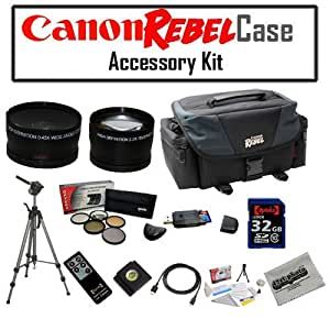 Canon REBEL SLR Gadget Bag For EOS or Rebel Cameras with Opteka 32GB SDHC High Speed Class 10 Memory Card, Opteka .43x High Definition Wide Angle With Macro & 2.2x Telephoto Lens Kit, Opteka High Definition II Professional 5 Piece Filter Kit includes UV, CPL, FL, ND4 and 10x Macro Lens and MORE!