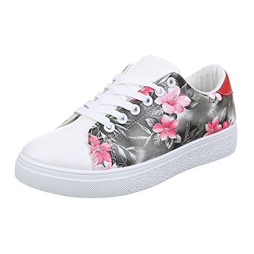 Ital-Design Damen Schuhe, JA3103, Freizeitschuhe Sneakers Grau Weiß