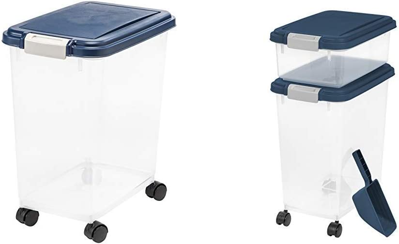 IRIS USA, Inc. IRIS Airtight Pet Food Storage Container 3 Piece Airtight Pet Food Storage Container Combo, Navy Blue