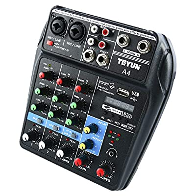Mini Audio Mixer Bluetooth Sound Board Console System 48V Power Stereo 4 Channels Amp by Yae First Trading Co.,Itd