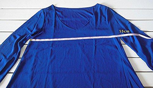 Estivi A Dress Vestitini Cerimonia Mini Donna Vestito Chiffon Vestiti Linea Abiti Forti Blu Spiaggia Taglie Abito Scollo xxl Corti Ad Colore S Sottile Solido Eleganti V Ragazza BgqEqTX