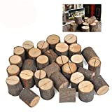 WOWOSS 30 Pcs Wedding Place Wooden Card Holders Table Number Holder Stands for Home Party Decorations