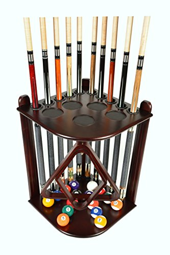 Cue Rack Only - 10 Pool - Billiard Stick & Ball Floor Rack - Holder Mahogany Finish (Mahogany)
