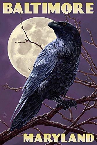 Paper Baltimore Ravens (Baltimore, Maryland - Raven and Moon Purple Sky (12x18 Art Print, Wall Decor Travel Poster))