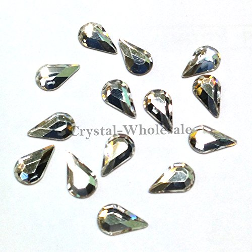 CRYSTAL (001) clear Swarovski 2300 Teardrop Pear - 10x6mm Flatbacks No Hotfix Rhinestones 6 pcs from Mychobos (Crystal-Wholesale) ()