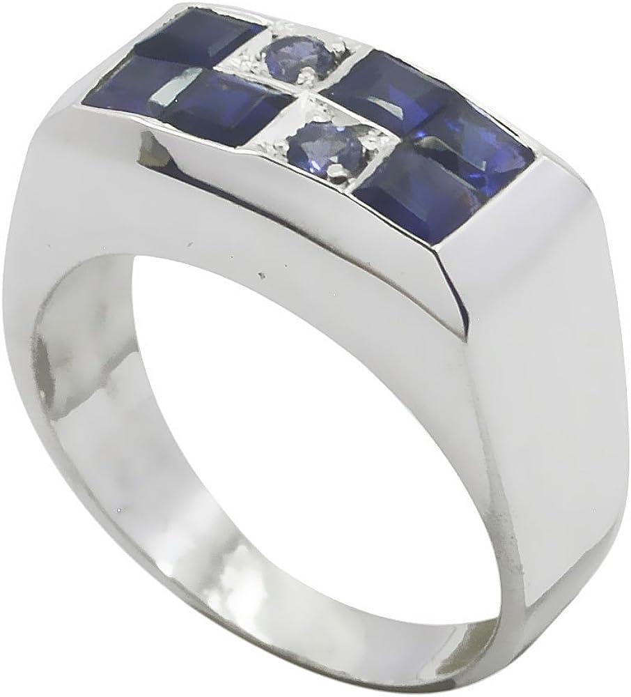 55Carat Natural Iolite Ring Band Bold For Men Blue Sterling Silver Bezel Style Handmade Size 5,6,7,8,9,10,11,12