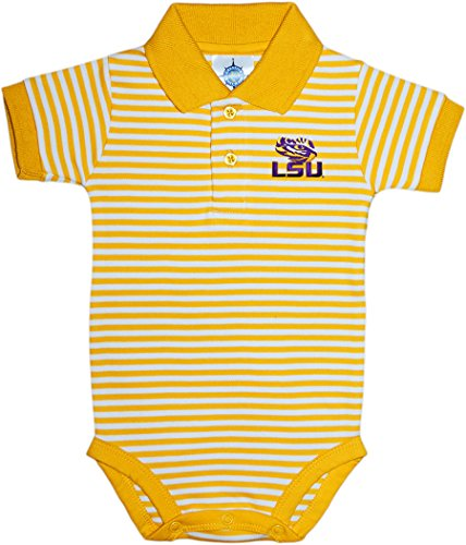 Tiger Striped Polo Shirt - Louisiana State University Tigers Newborn Striped Polo Bodysuit,Gold/White,6-9 Months
