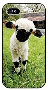 Case For Iphone 4/4S Cover Case White and black sheblack plastic case / animals, sheeps