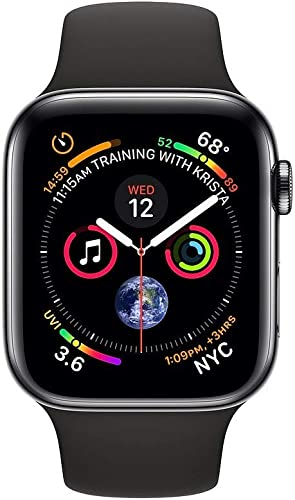 Apple Watch Series 4 GPS Cellular, 44mm Space Black Stainless Steel Case with Black Sport Band Renewed