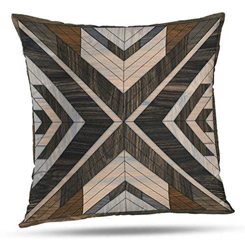 Tyfuty 18 x 18 inch Throw Pillow Covers Wood Shaped Geometric Wooded Tile Geometry Antique Backdrop Board Brown Pillowcases Cushion Use for Living Room Bed Sofa