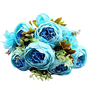 YJYdada Artificial Flower, 1 Bouquet Vintage Artificial Peony Silk Flowers Bouquet for Decoration (I) 71