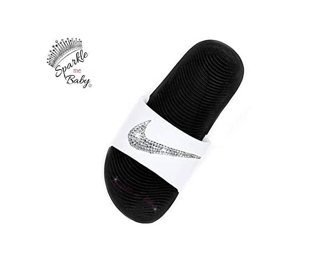 7ed2cb2b Image Unavailable. Image not available for. Color: Nike Slide Women's White  and Black Swarovski Bedazzled Shoes Bling ...