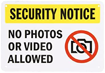 "SmartSign Aluminum Sign, Legend ""Security Notice - No Photos or Video Allowed"" with Graphic, 7"" high x 10"" wide, Black/Red/Yellow on White"