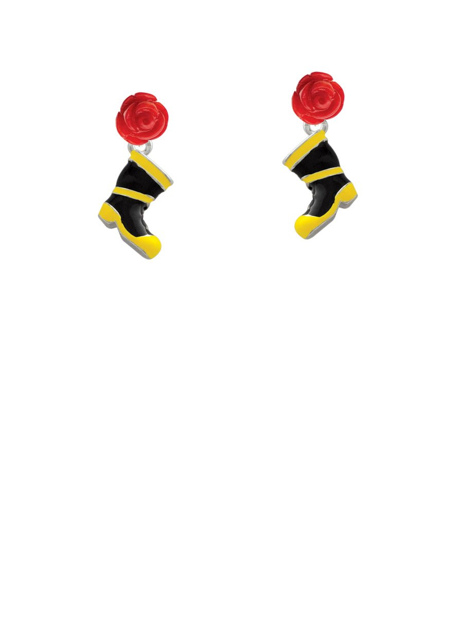 Black and Yellow Firefighter Boot - Red Rose Earrings