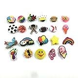 Efivs Arts 20+pcs Different Shape Shoes Charms Fits for Croc Shoes & Wristband Bracelet Party Gifts