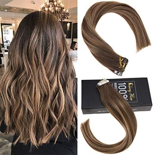 (Sunny Real Human Hair Extensions Tape in Two Tone 18inch 20pcs 50g Color Dark Brown Highlighted with Caramel Blonde Seamless Human Hair Tape in Hair)