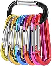 Gimars 10 Stück Karabiner Schlüsselanhänger Aluminium Karabinerhaken mit gefederter Verschluss für Camping, Angeln, Wandern Oder Reisen