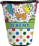RNK Shops Dinosaur Print & Dots Waste Basket - Single Sided (Black) (Personalized)