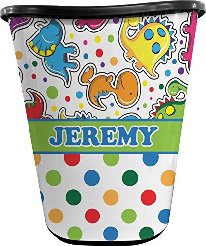 RNK Shops Dinosaur Print & Dots Waste Basket - Single Sided (Black) (Personalized) by RNK Shops