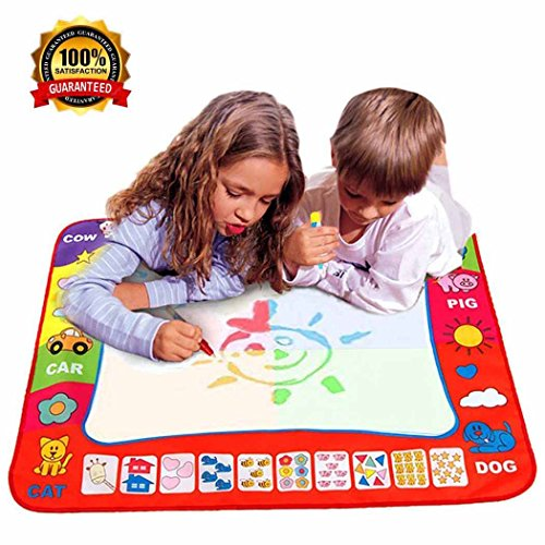 4 Color Aqua Doodle Mat with 2 Magic Water Pens , Learning Water Drawing Mat Large Painting Doodle Board Kids Educational Toy Gift 31.5