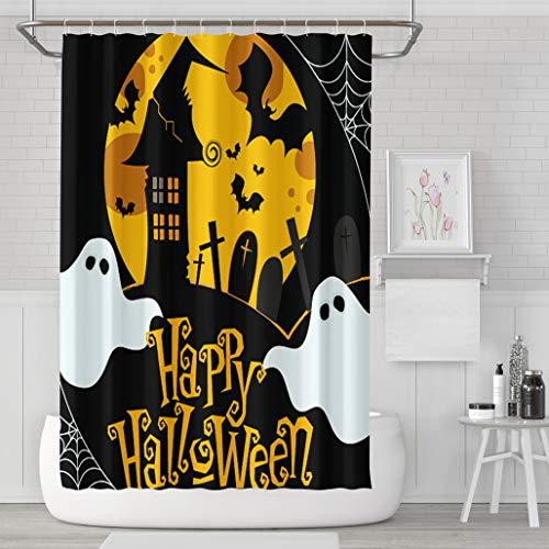 Asoco Shower Curtain Set with 12 Hooks Cute Halloween Polyester Fabric Waterproof Bath Curtain 72X78 Inches Decortive Bathroom -