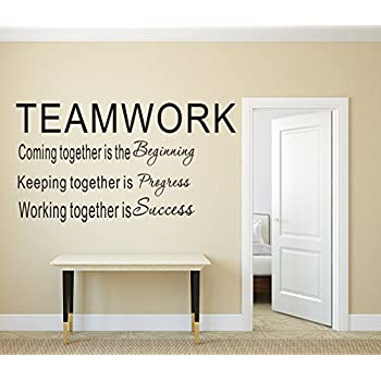 Luckkyy large teamwork definition office vinyl wall decals quotes sayings words art decor lettering vinyl wall artt black