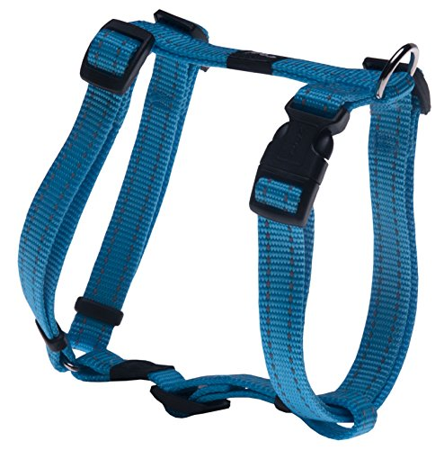 Reflective Adjustable Dog H Harness for Large Dogs; matching collar and leash available, Turquoise
