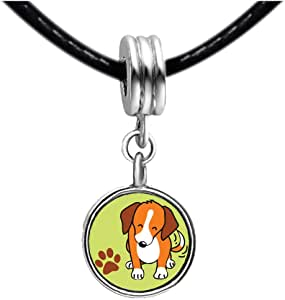 Chicforest Silver Plated Beagle Dog Photo Light Amethyst Crystal June Birthstone Flower dangle Charm Beads Fit Pandora Chamilia Biagi Charm Bracelet