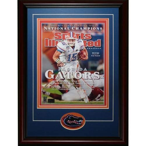 Tim Tebow Autographed Signed Auto Florida Gators Commemorative Sports Illustrated Deluxe Framed 11 14 Photograph Tebow Holo - Certified ()