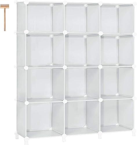 TomCare Cube Storage 12-Cube Bookcase Cubes Organizer Storage Shelves Closet Organizer Shelf Plastic Bookshelf Storage Cube DIY Square Closet Cabinet Shelves