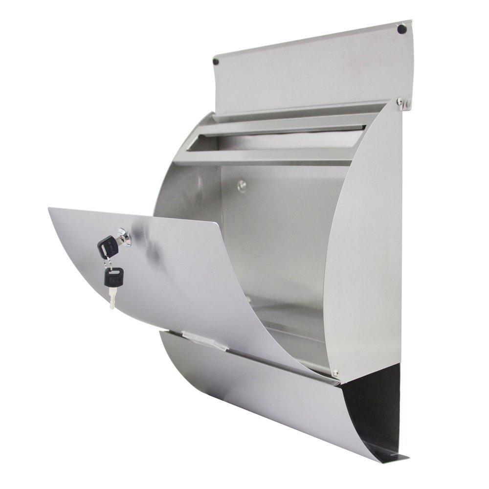 Modelo E HENGMEI 141x353x420mm Buzones de acero inoxidable con el peri/ódico rollo de Correo para Cartas y Correo Postal Buz/ón mural grande