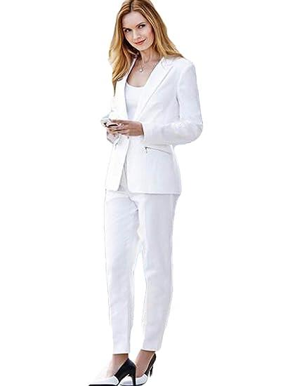 Amazon.com: Jacket+Pants Women Business Suits White Single ...