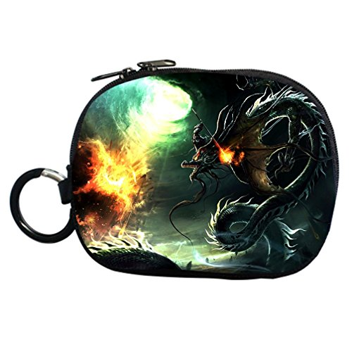 JIUDUIDODO Handsome Black Dragon Fighting with a Soldier Dark Grey Coin Purse Clutch Handbag for Cash Cellphone Credit Card Make up Bag