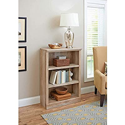 """Wooden Weathered Distressed 3 Shelf Bookcase. Wood Three Tier Bookshelf for your Book by BHG - Dimensions: 29.5""""W x 13.8""""D x 41""""H Lintel oak bookcase has 2 adjustable shelves - living-room-furniture, living-room, bookcases-bookshelves - 51k2qoFnyuL. SS400  -"""