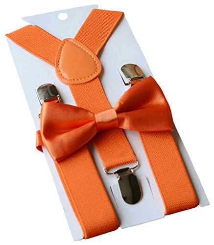 UDRES Unisex Kid Boys Girls Adjustable Bow tie & Suspender Sets (One Size, Orange) -
