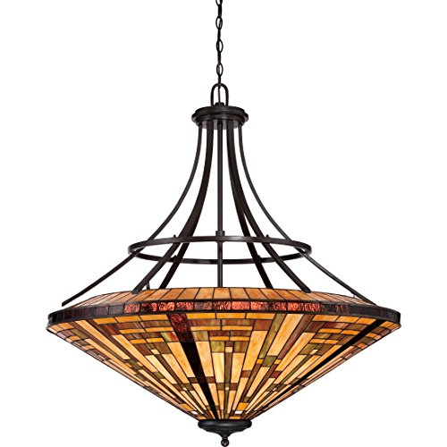 Quoizel TFST2840VB Stephen Tiffany Foyer Bowl Pendant Ceiling Lighting, 8-Light, 800 Watts, Vintage Bronze (43
