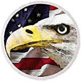 Pixels Round Beach Towel With Tassels featuring ''Bald Eagle Art - Old Glory - American Flag'' by Sharon Cummings