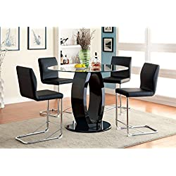 Furniture of America Quezon 5-Piece Round Glass Top Pedestal Pub Dining Set, Black