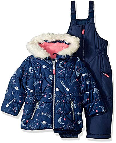 Carter's Girls' Toddler 2-Piece Heavyweight Printed Snowsuit, Navy Star, 4T