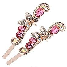 ZOONAI Women Butterfly Rhinestone Hair Clip Barrette Hairpin Headwear Accessories (Pink)