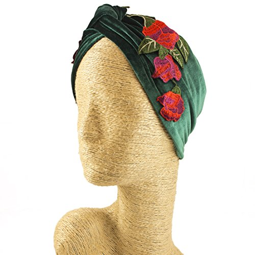 Fascinator, Velvet Headbands, Millinery, Worldwide Free Shipment, Delivery in 2 Days, Customized Tailoring, Designer Fashion, Head wrap, Bohemian Accessories, Green, Jewelled, Red, Boho Chic by Elipeacock