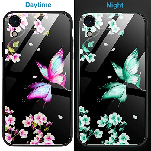 iPhone Xr Case,WATACHE Luminous Noctilucent Night Glow Flower Butterfly Painting Pattern Tempered Glass Back + Soft TPU Bumper Scratch-Resistant Girl Women Cover for iPhone Xr (Black#1)